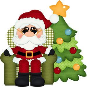 santa claus in chair with christmas tree