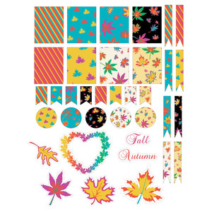 fall leaves planner stickers
