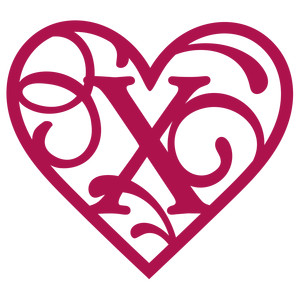 heart flourish monogram x
