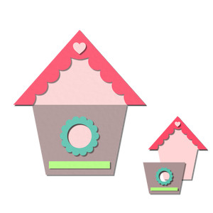 pocket / insert card - birdhouse