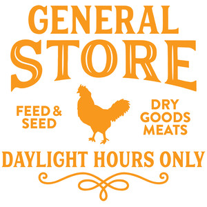 general store sign with a hen