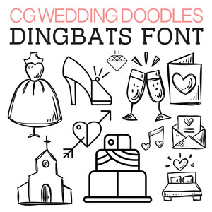 cg wedding doodles dingbats