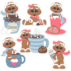 cookies and cocoa gingerbread man stickers
