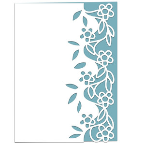 entwined flowers lace edged card