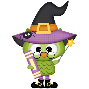 halloween owl witch with glasses