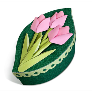 leaf shaped box with 3d tulips