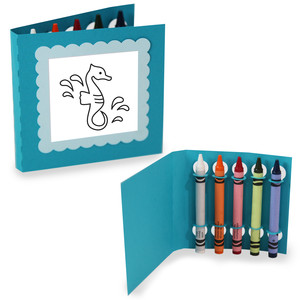 crayon holding square coloring cards - seahorse