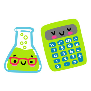 kawaii science beaker and calculator