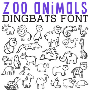 cg zoo animals dingbats