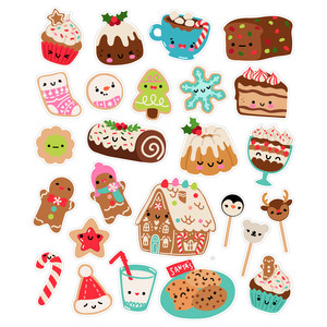 kawaii christmas dessert stickers