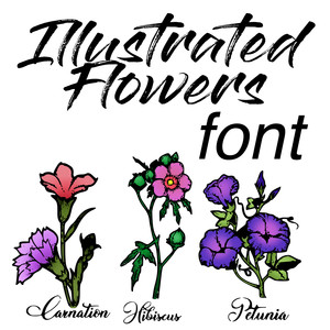 illustrated flowers dingbats