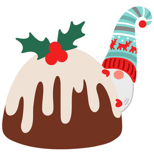 gnome with christmas pudding