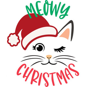 meowy christmas santa cat