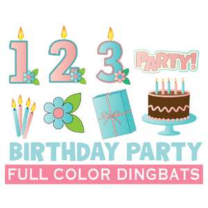 SI BDAY PARTY birthday number candles dingbats font