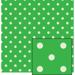 green and cream larger polka dot pattern