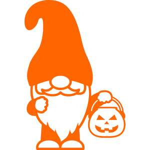 gnome with pumpkin candy bucket