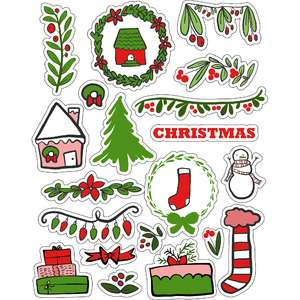 ml christmasy ferns stickers