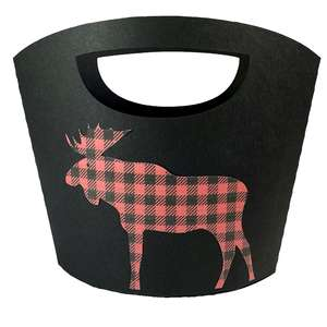 christmas buffalo plaid moose tote