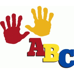 school abc title and child handprints