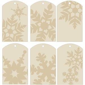 gift tags - snowflakes beige