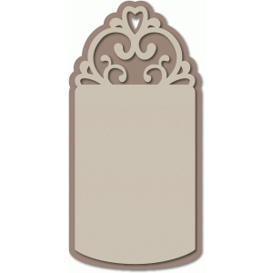 scroll heart motif label