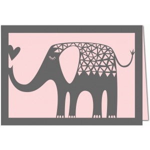 elephant with heart papercut 7x5 card