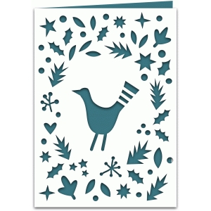 scandinavian folk bird 7x5 winter holiday card