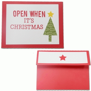 open when—it's christmas envelope