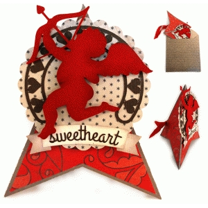 cupid hearts teepee card & envelope