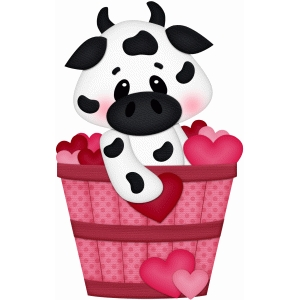 valentine cow in basket pnc