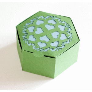 hexagon hinge top box with hearts and flourishes