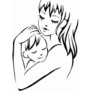 mother with child stencil