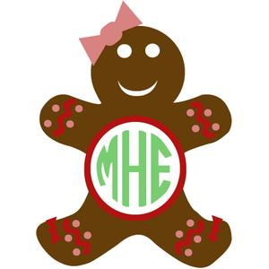 gingerbread girl monogram frame
