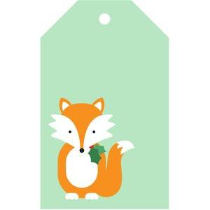 fox holly gift tag