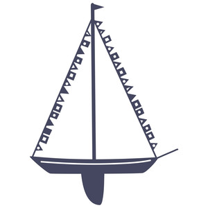 yacht with pennants