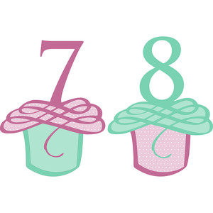 flourished cupcake numbers 7 and 8