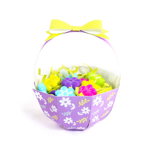 purple flowers basket