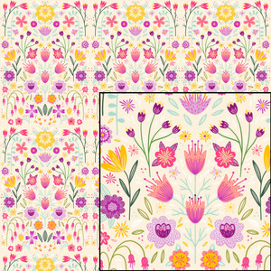 bright floral symmetry pattern