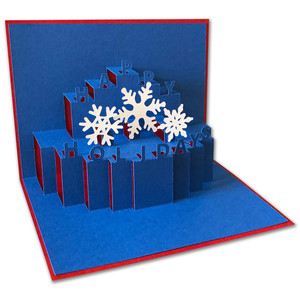 happy holidays pop-up card