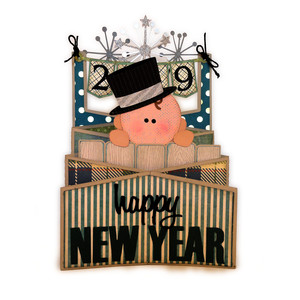 new year baby peeking card