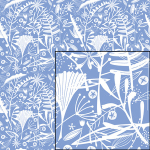 blue and white seamless foliage pattern