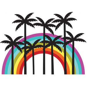 palm trees rainbow