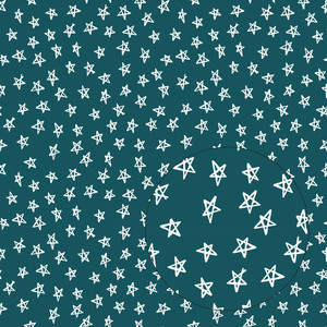 teal blue stars seamless pattern