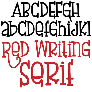 pn red writing serif