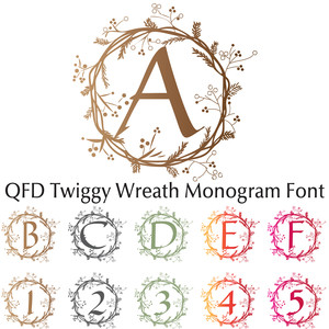 qfd twiggy wreath monogram font
