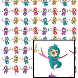 colorful sloths on white pattern