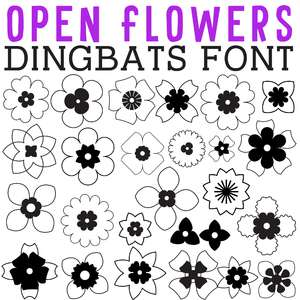 cg open flowers dingbats
