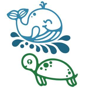 underwater animals - whale and turtle
