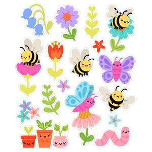 kawaii bee butterfly and flower stickers
