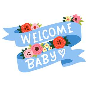 welcome baby flower banner